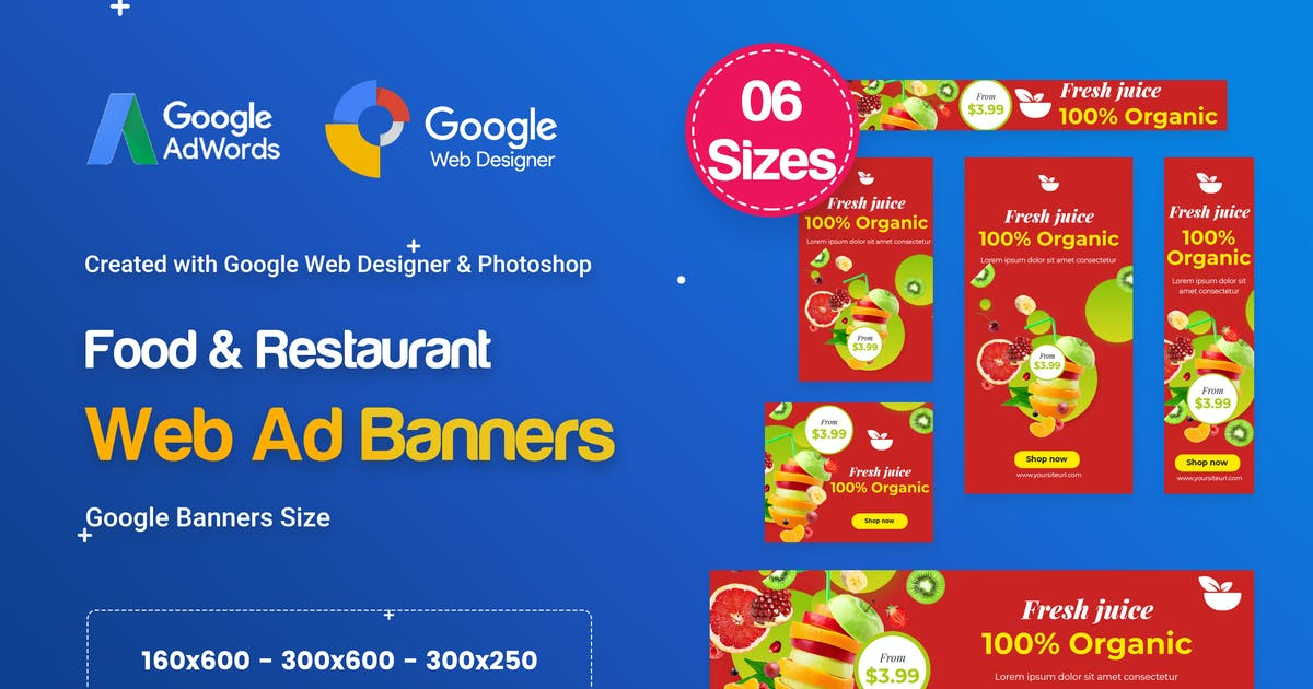 Download Food & Restaurant Banners HTML5 Ad D80 - GWD & PSD by iDoodle