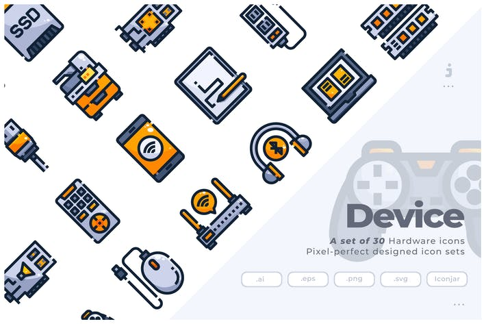 Thumbnail for 30 Hardware and Device Icons