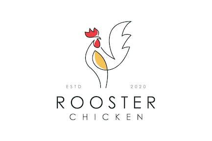 elegant outline rooster logo