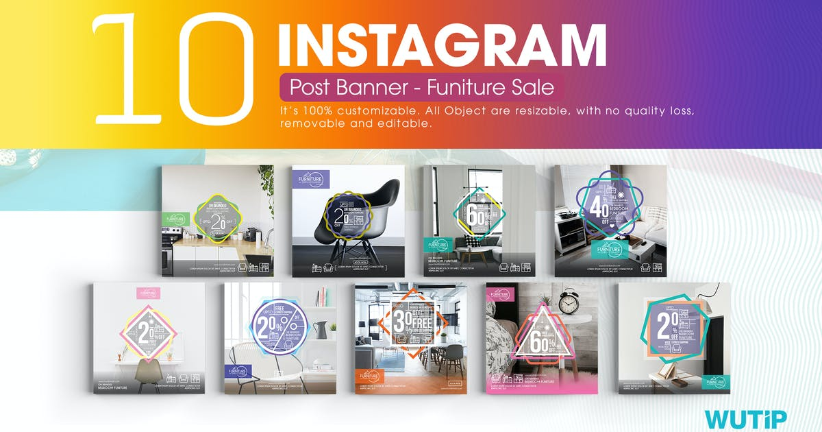 10 Instagram Post Banner Furniture Sales Von Wutip Auf Envato Elements