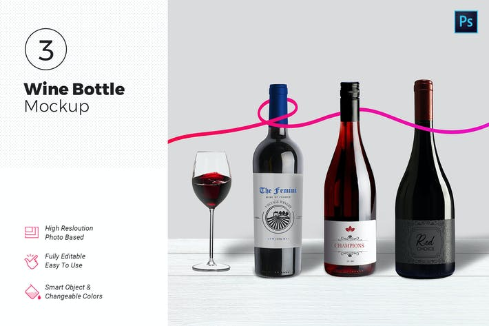 Cover Image For Wine Bottle Mockups