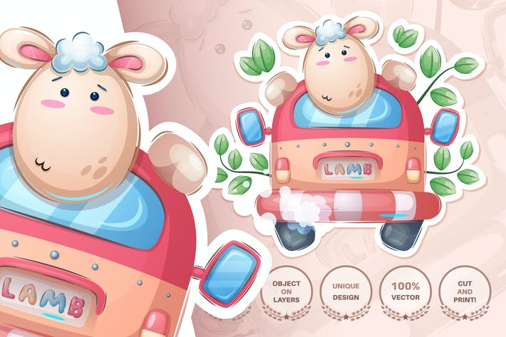 Thumbnail for Sheep rides a car - seamless pattern