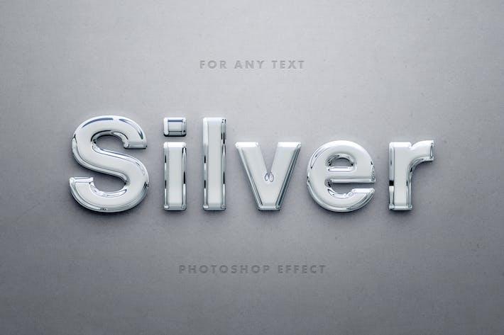 Глянцевый 3D Серебряный текстовый эффект