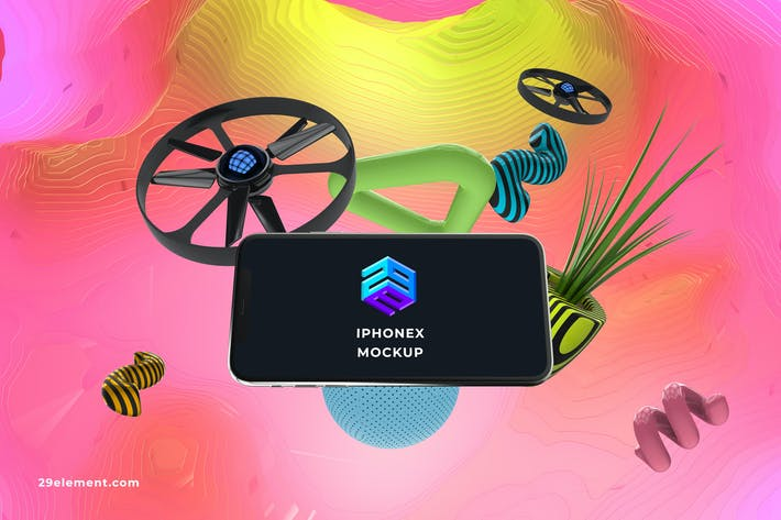 Thumbnail for Drone Control App iPhone X Mockup - MK