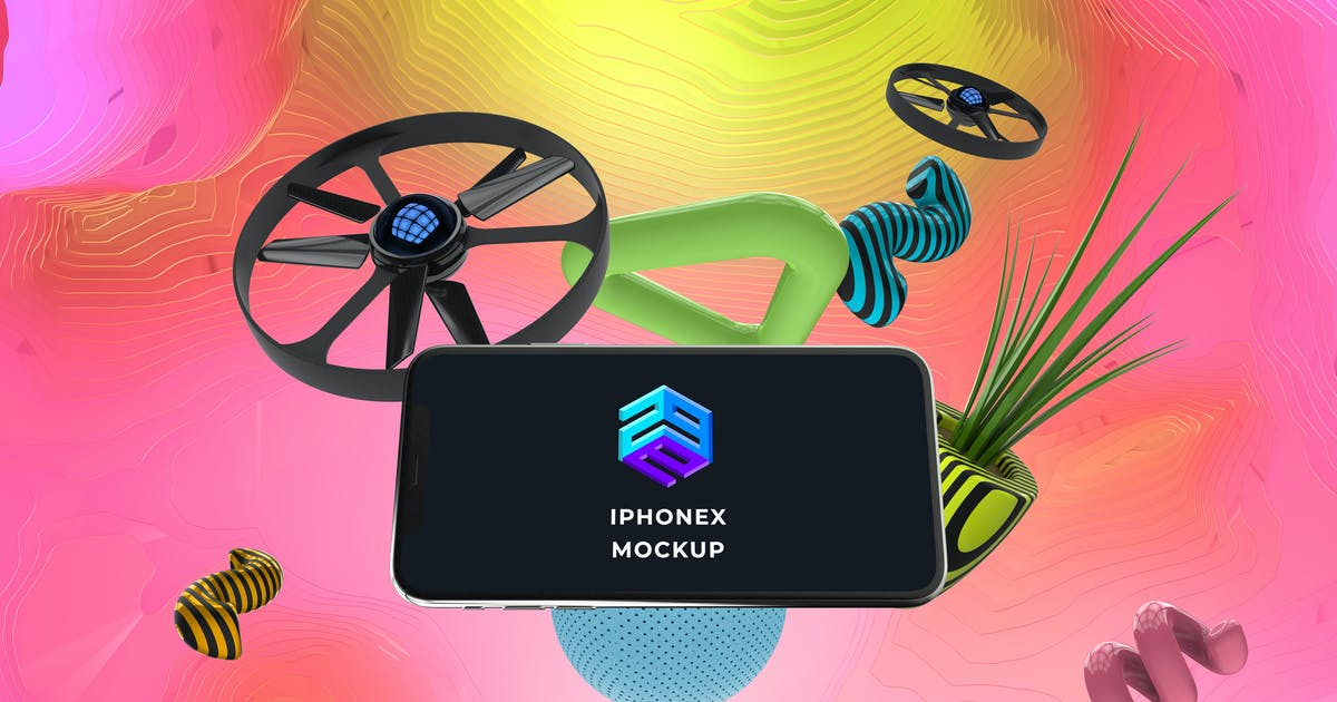 Download Drone Control App iPhone X Mockup - MK by angelbi88