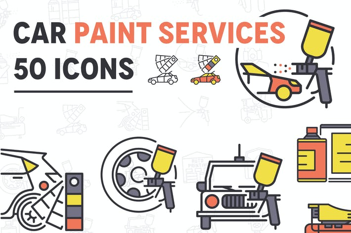 Thumbnail for Car Paint Services Line Icons
