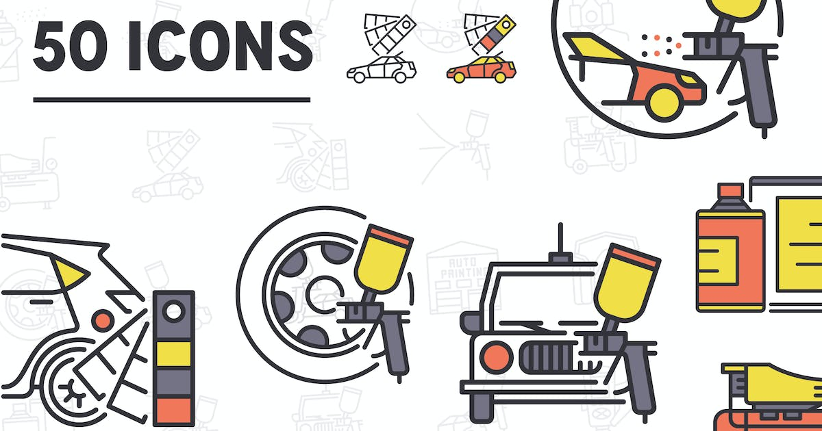 Download Car Paint Services Line Icons by iconsoul