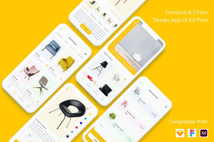 Thumbnail for Furniture & Chairs Design App UI Kit Pack