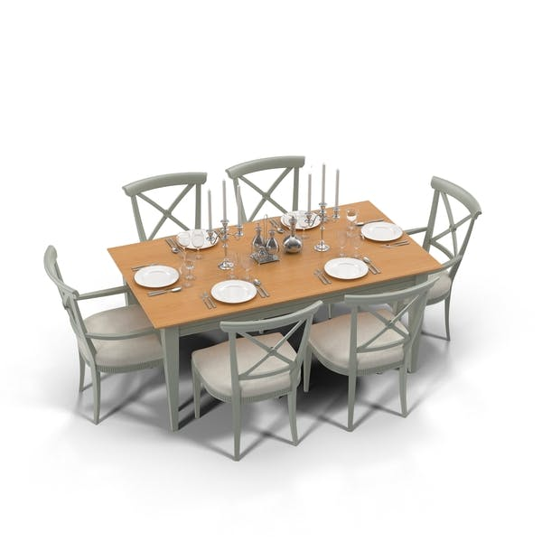Dining Table With Place Setting