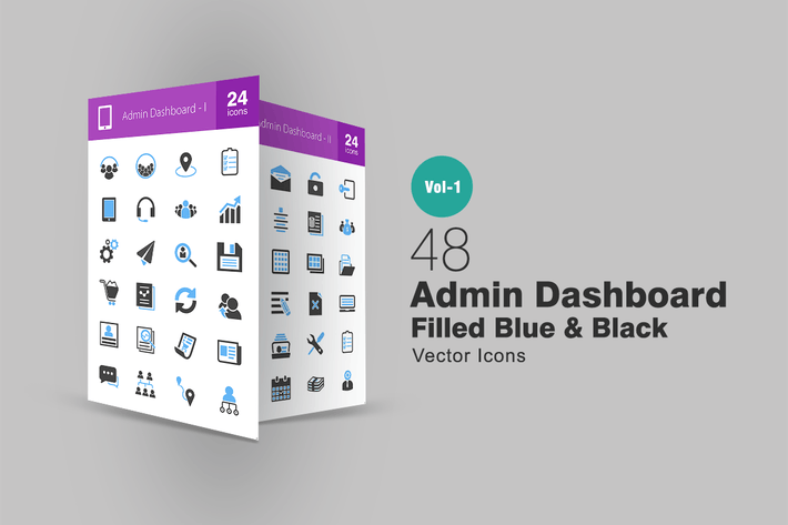 Thumbnail for 48 Admin Dashboard Blue & Black Icons