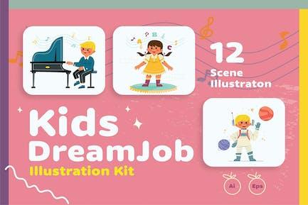 Kinder träumen Job-Illustration