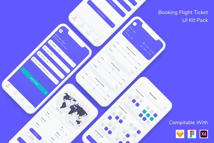 Thumbnail for Booking Flight Ticket App UI Kit Pack
