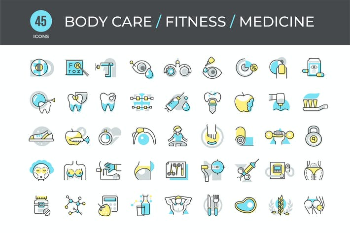 Thumbnail for 45 Body Care, Fitness & Medicine Icons