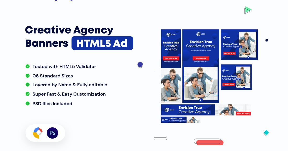 Creative Agency, Startup HTML5 Banners Ad by iDoodle