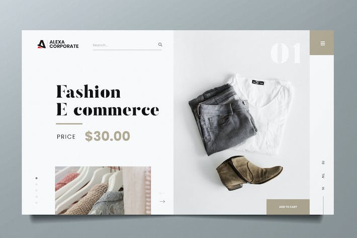 Thumbnail for Fashion Ecommerce Web Header PSD and AI Template
