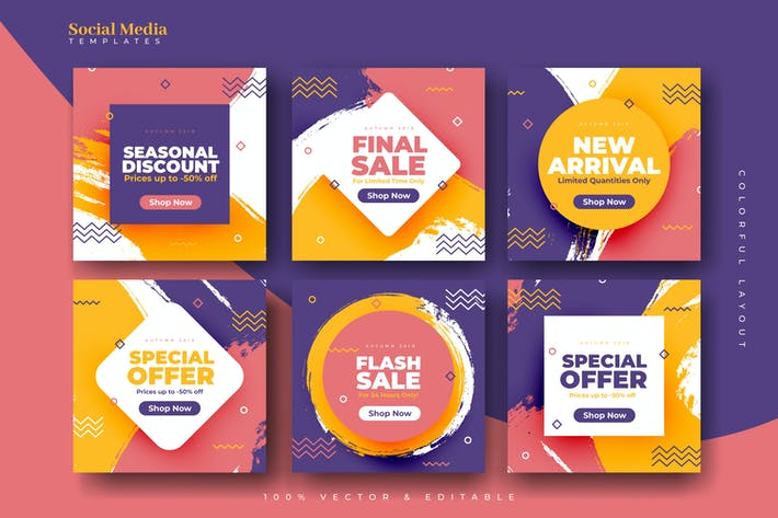 Thumbnail for Colorful Grunge Social Media Templates