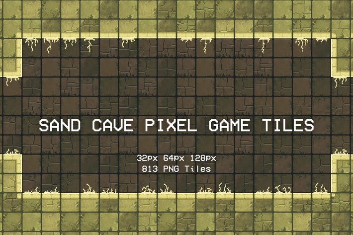 Sand Cave Pixel Game Tiles