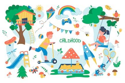 Kindheitskonzept Einzelteile Set