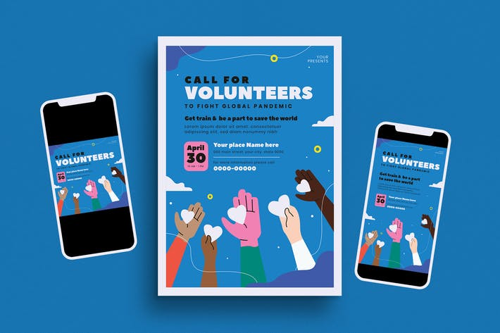 Thumbnail for Volunteers Event Flyer Set