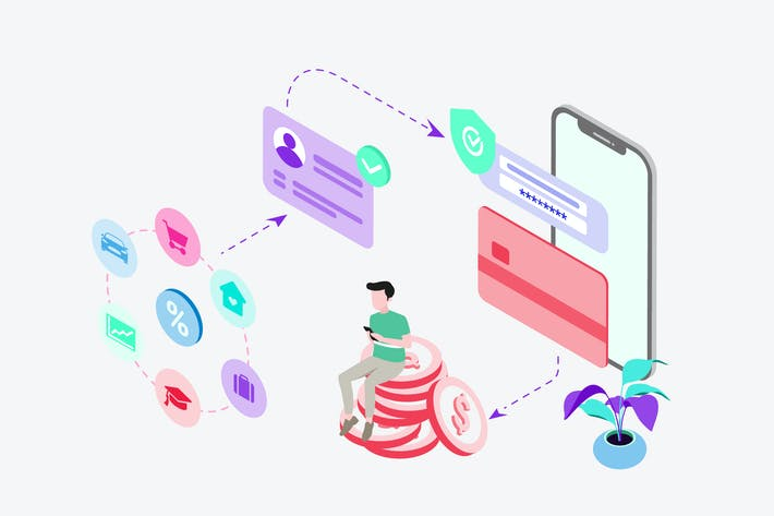 Thumbnail for Bank Loan by Digital Wallet Isometric