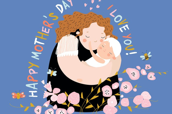 Thumbnail for Cute mother hugging their child. Happy mothers day