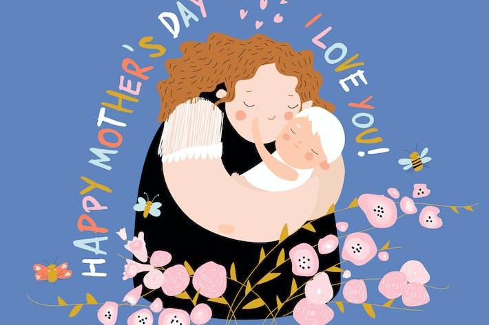 Thumbnail for Nette Mutter umarmt ihr Kind. Fröhliche Muttertag