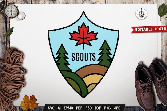 Thumbnail for Scouts Line Art Emblem Modern SVG. Retro Camp