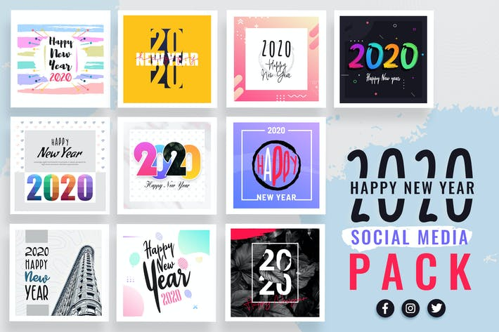 Thumbnail for New Year Social Media Templates 2020