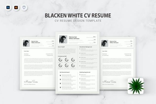 Blacken White CV Resume