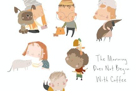 Cute Cartoon Kids with Their Pets