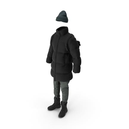 Chaqueta de plumón para hombre pantalones vaqueros jersey sombrero mochila botas negro