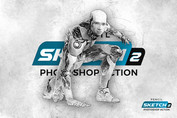 Thumbnail for Sketch карандаша 2 Photoshop Действие