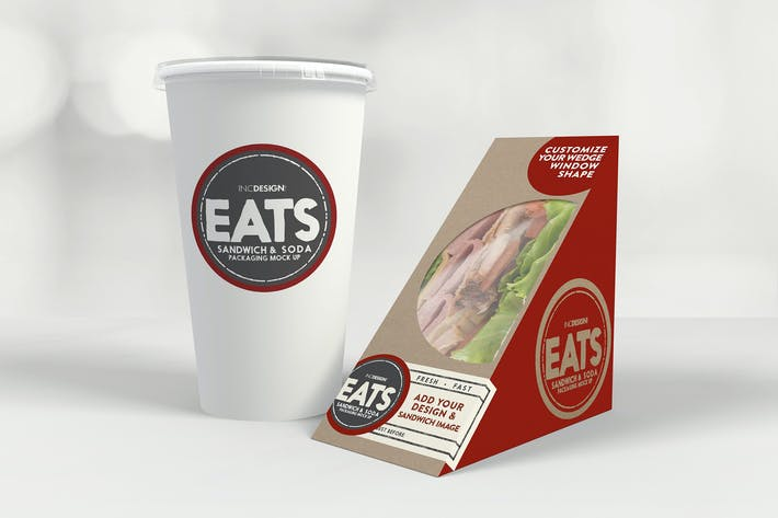 Thumbnail for MockUp Tasses Sandwich Wedge et Papier Soda