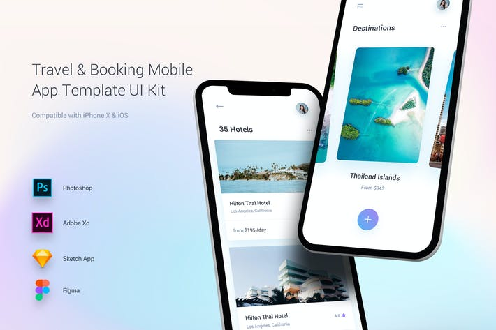 Cover Image For Travel & Booking Mobile App Template UI Kit