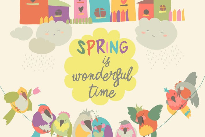Thumbnail for Colorful birds and birdhouses in spring. Vector
