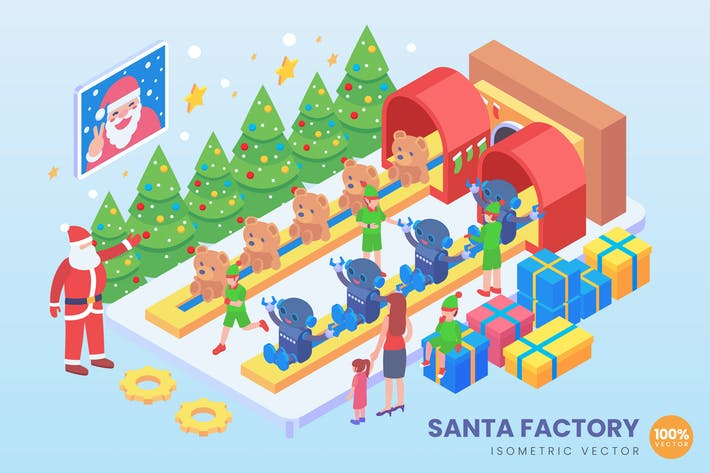Cover Image For Isometric Santa Factory Vector Concept