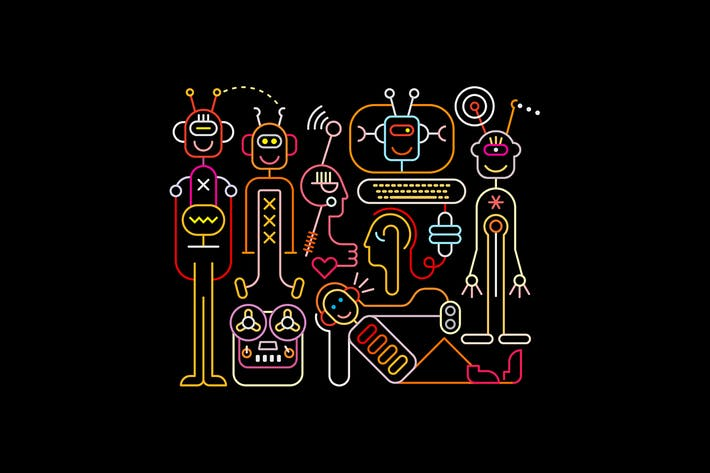 Thumbnail for Neon colors Cheerful Robots vector illustration