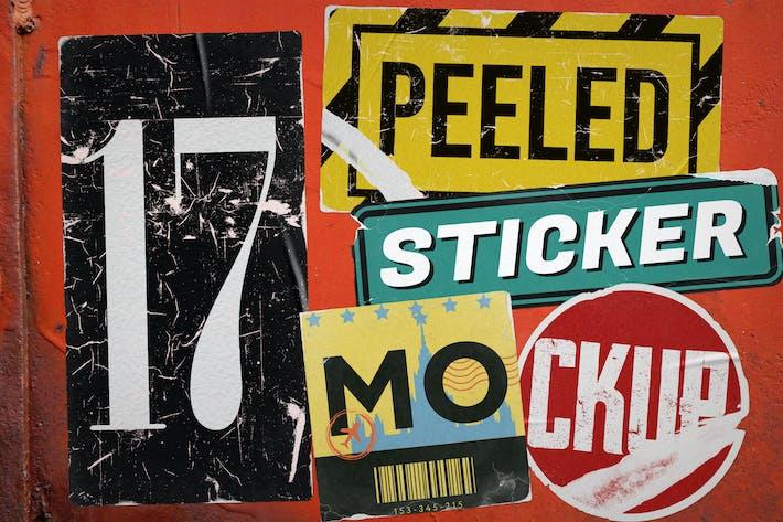 Geschälte Sticker Mockup