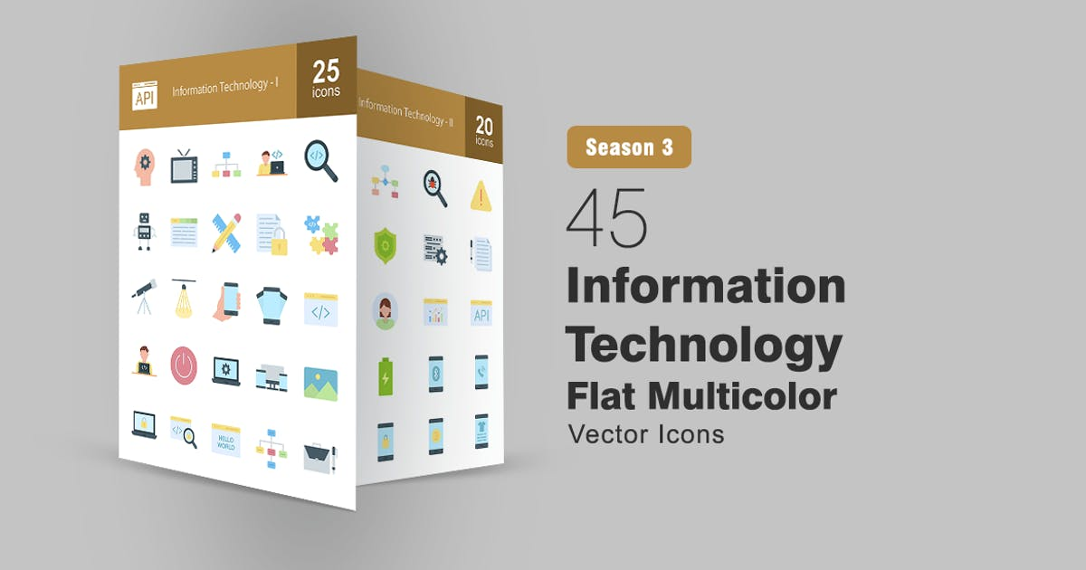 Download 45 Information Technology Flat Icons by IconBunny