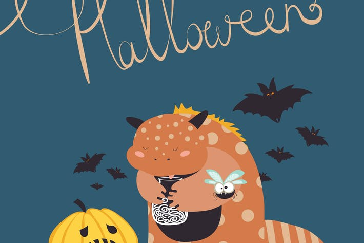 Thumbnail for Cute colorful monster.Happy halloween. Vector