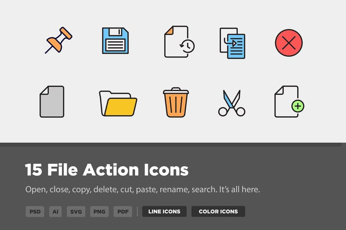 Thumbnail for 15 File Action Icons