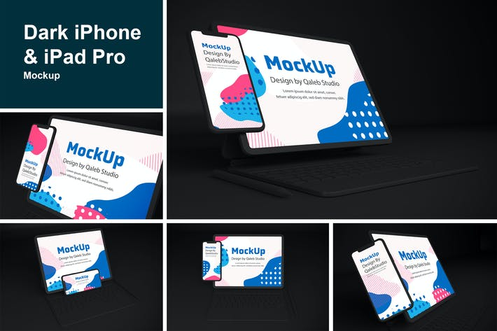 Thumbnail for Dark iPhone & iPad Pro Mockup