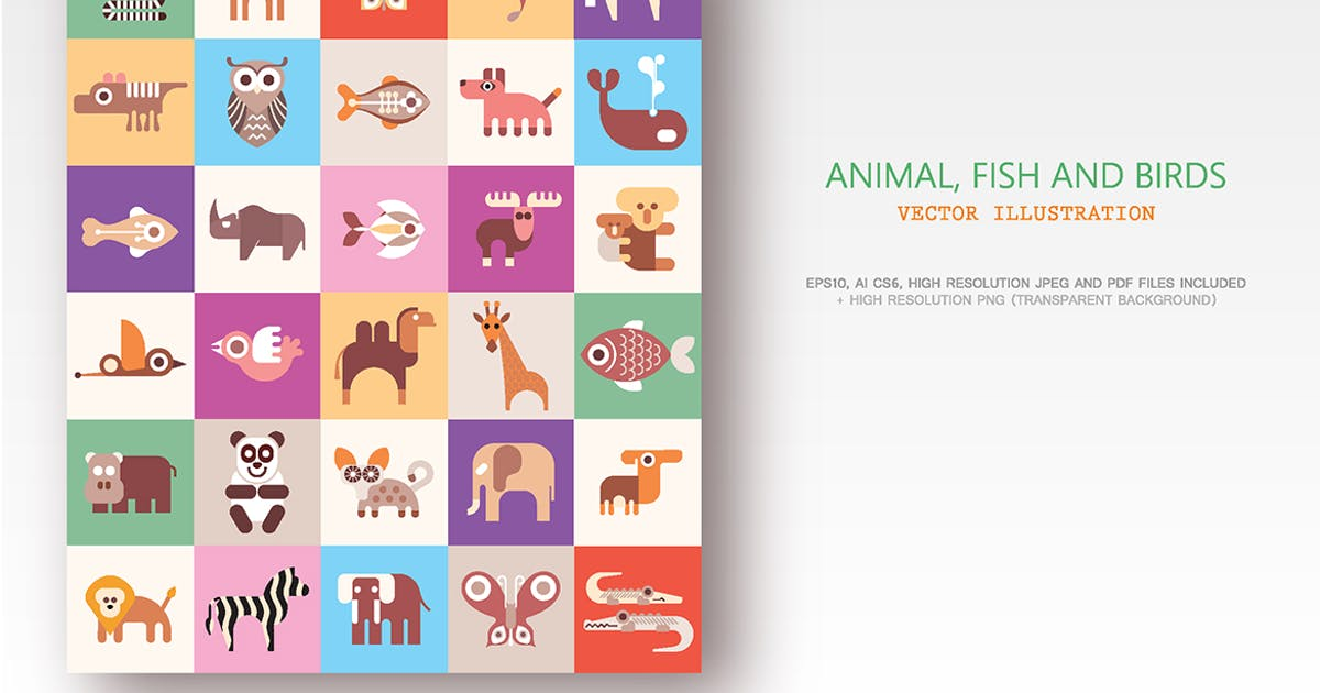 Download Animals, Fish and Birds vector illustration by danjazzia