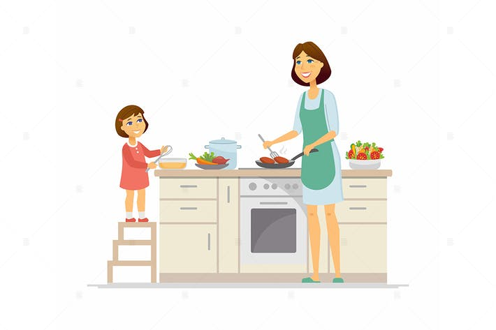 Cooking Together - flat design style illustration