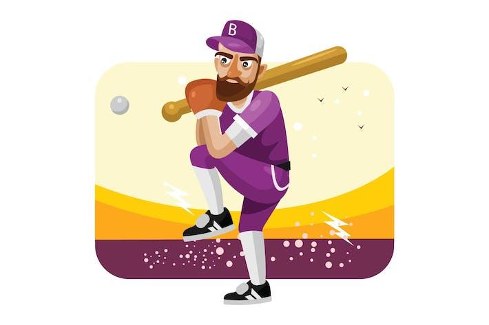 Baseball-Spieler-Vektor Illustration