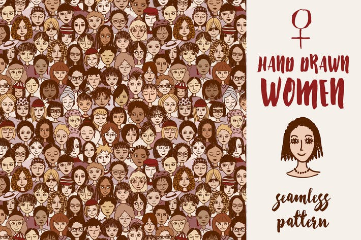 Thumbnail for Happy Women - Seamless Hand Drawn Pattern