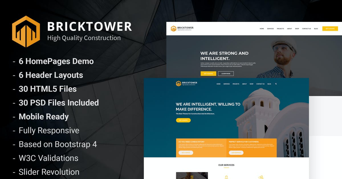 Bricktower - Construction Company HTML5 Template by AuThemes