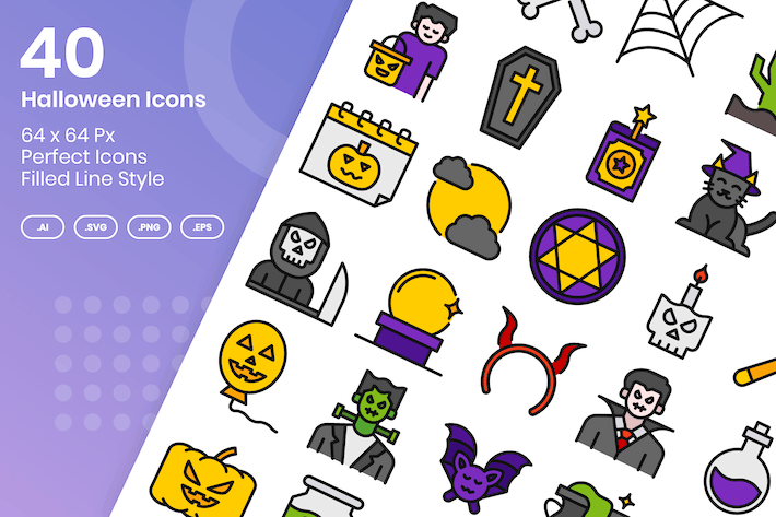 Thumbnail for 40 Halloween Icons Set - Filled Line