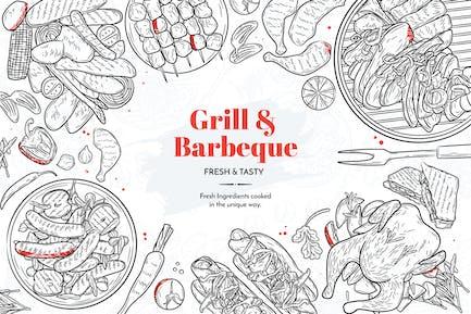 Grill und Grill Hand gezeichnet Elemente