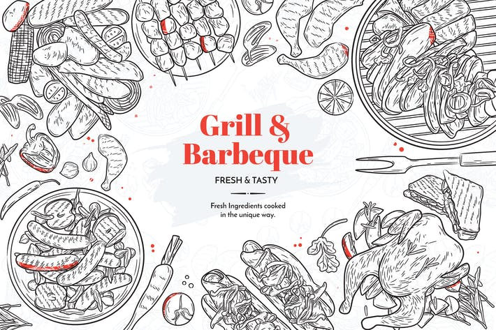 Thumbnail for Grille et Barbecue Éléments dessinés à la main